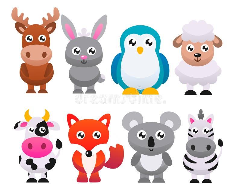 Коллекция милых мультипликационных животных Векторная плоская иллюстрация иллюстрация штока