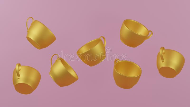 Коллекция произведений искусства 3d представить современное искусство кофейной чашки золота для украшает анти- стиль силы тяжести бесплатная иллюстрация