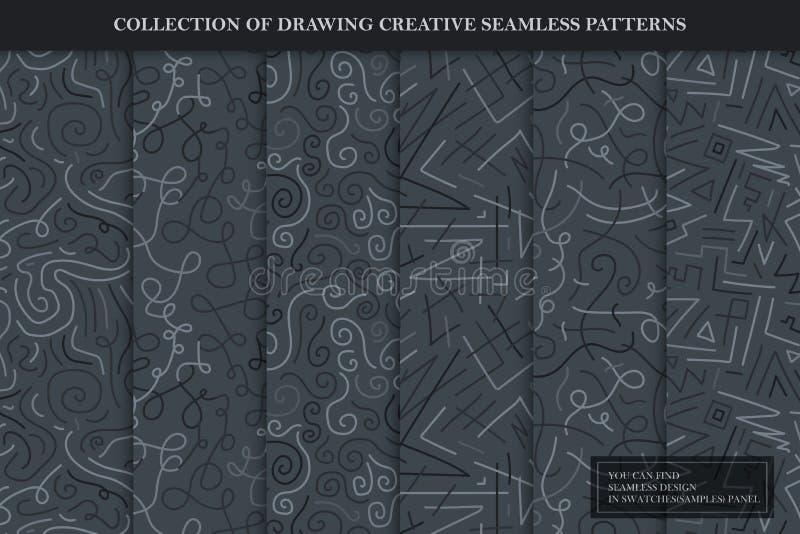 Коллекция чертежей бесшовных творческих узоров Темно-серый полосатый кривый бесконечный текстур Необычный повторяющийся вектор иллюстрация вектора
