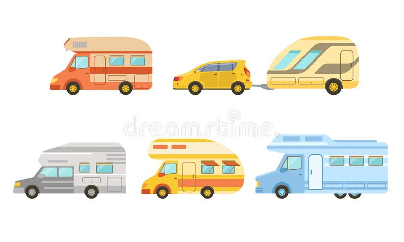 Коллекция Camper Trailers Set, Trailering, Camping, Outdoor Adventure Vector Illustrator иллюстрация штока