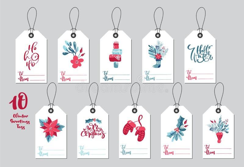 Коллекция Merry Christmas vector подарочные теги с рукописной каллиграфией текст и набор декоративных xmas бесплатная иллюстрация
