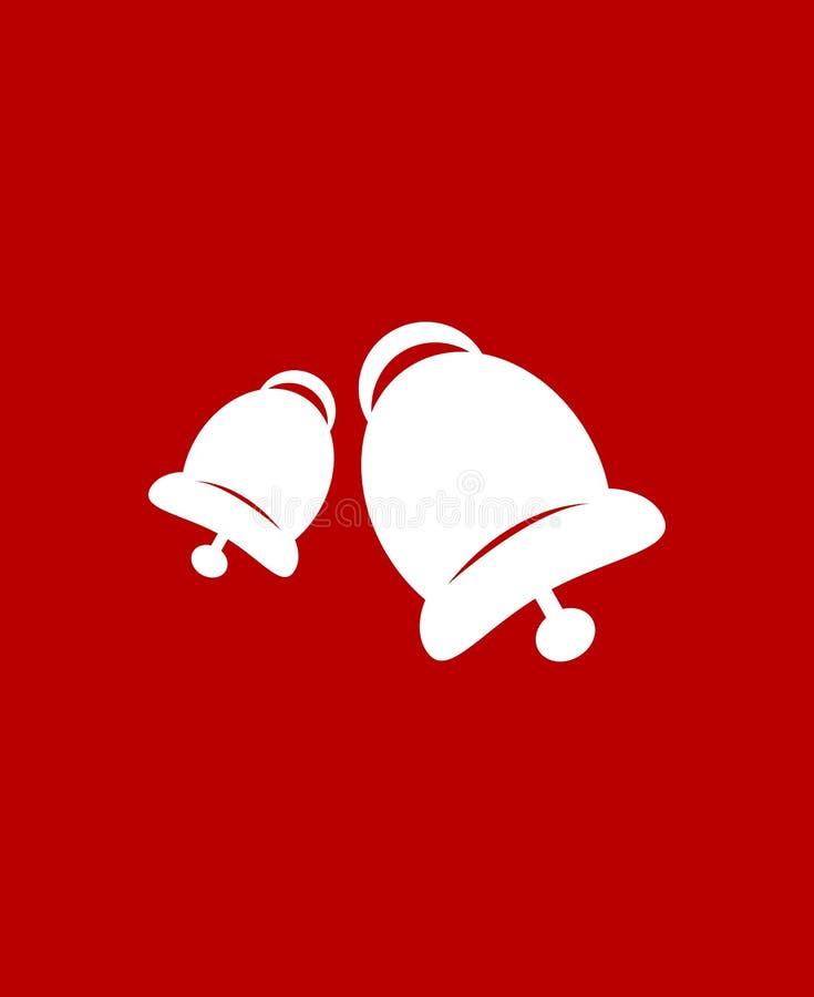 Колоколы звона над красной предпосылкой Плоский значок Очистите дизайн зацепляет икону иллюстрация штока