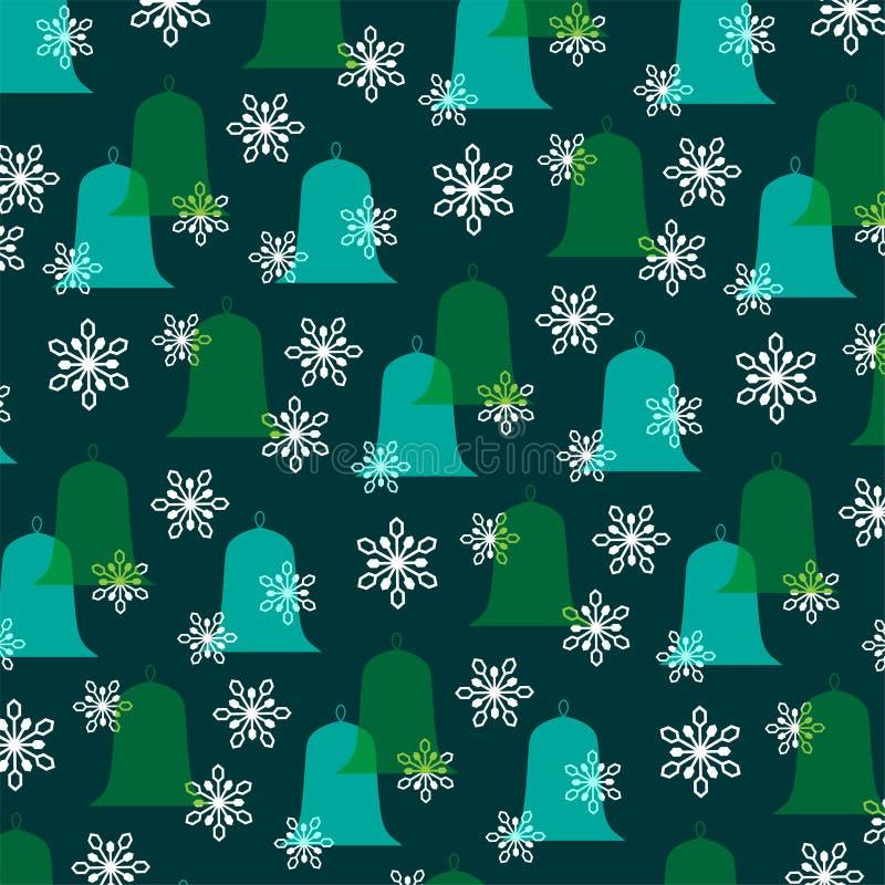Колоколы и снежинки рождества голубого зеленого цвета иллюстрация вектора