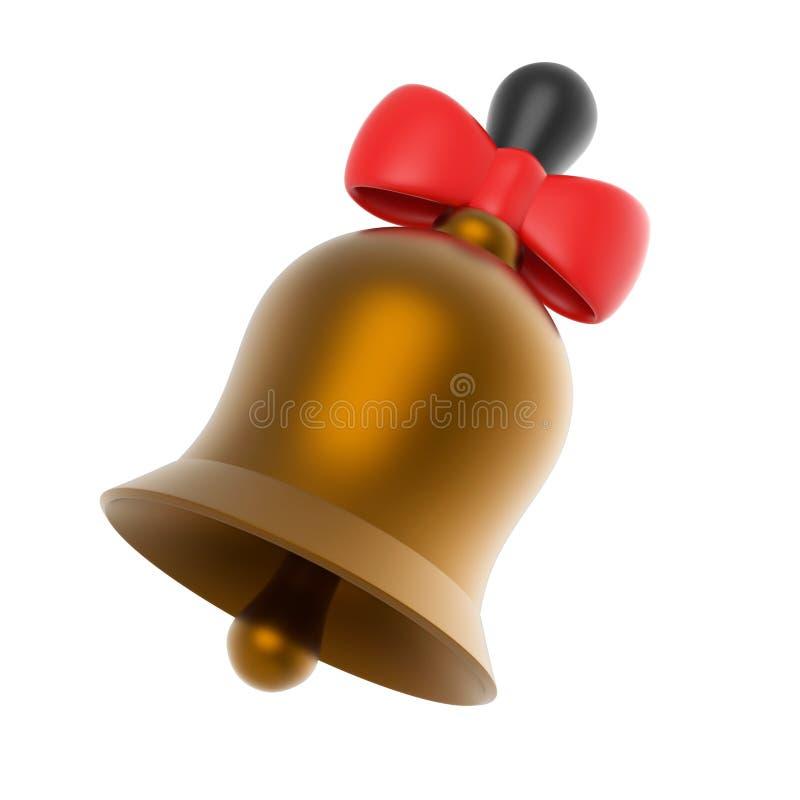 Колокол золота с красным смычком иллюстрация 3d представляет стоковое фото
