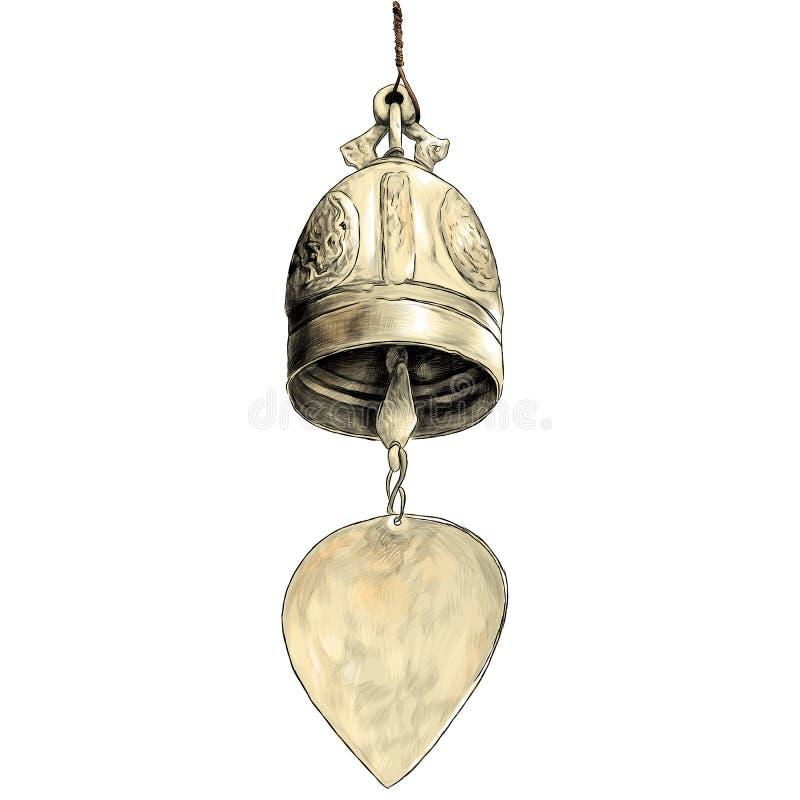 Колокол металла в буддийском виске иллюстрация штока