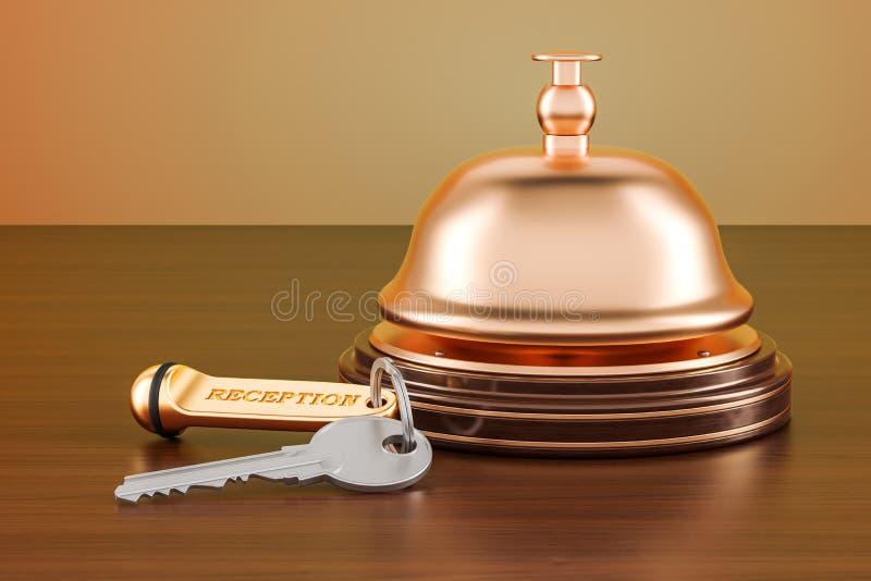 Колокол на деревянном столе, ключа и приема гостиницы перевод 3D иллюстрация штока