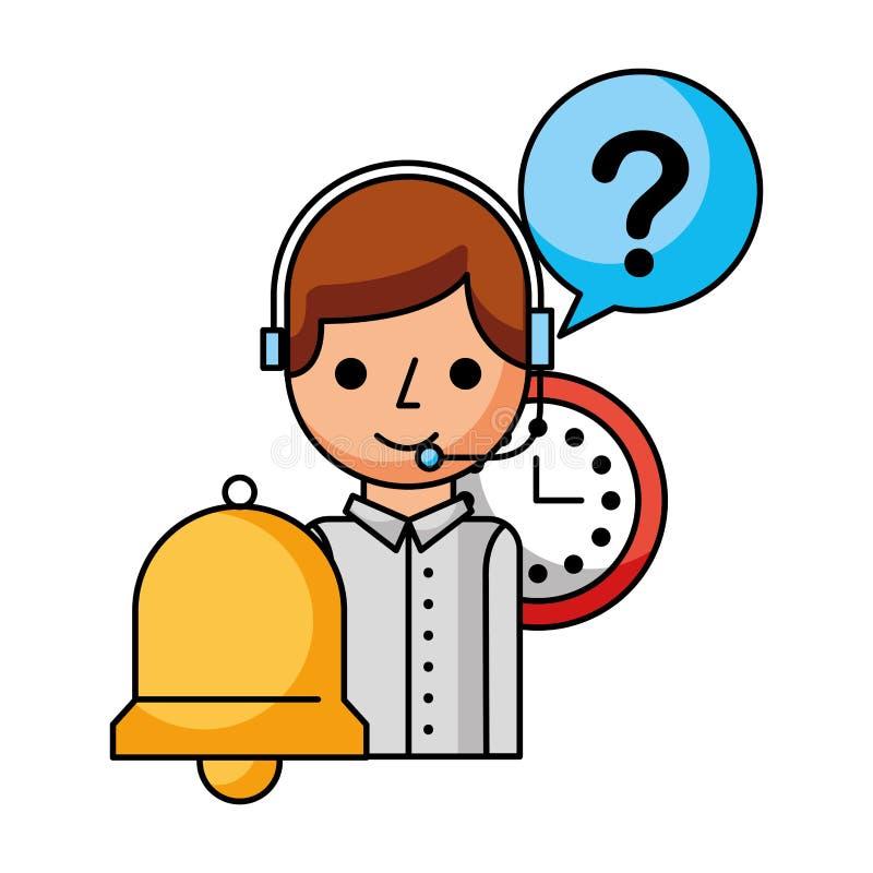 Колокол поддержки часов мальчика центра телефонного обслуживания бесплатная иллюстрация