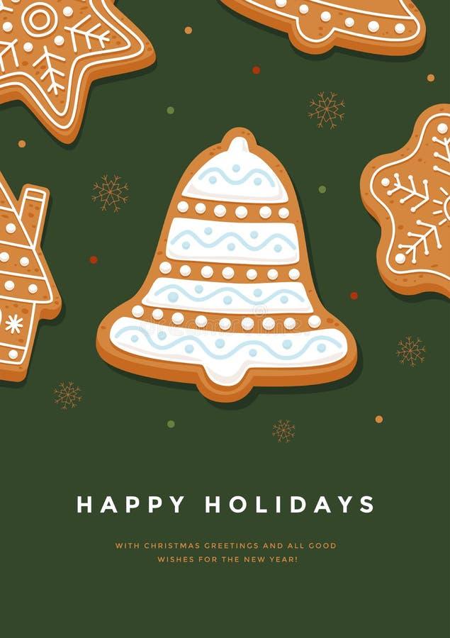 Колокол пряника рождественской открытки с праздниками поливы и надписи счастливыми на зеленой предпосылке иллюстрация вектора