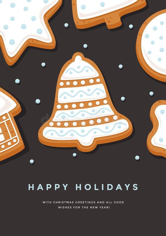 Колокол пряника рождественской открытки с праздниками поливы и надписи счастливыми на темной предпосылке иллюстрация штока