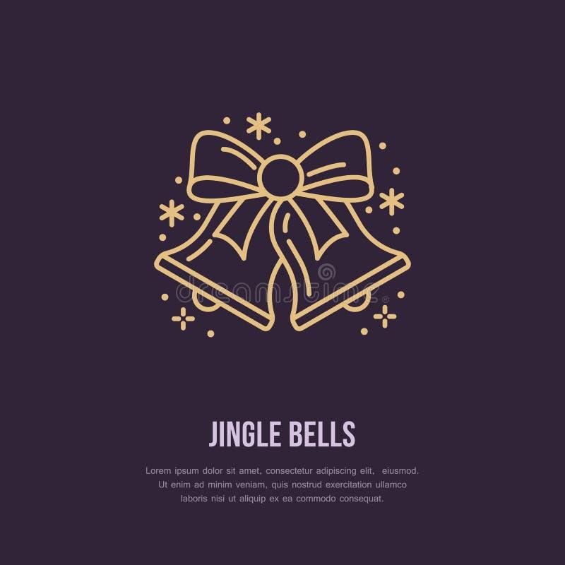 Колокол рождества, линия значки Нового Года плоская бесплатная иллюстрация