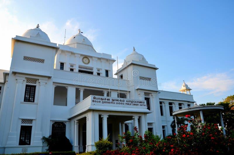 Колониальная эпоха отстраивать здание ориентир ориентира публичной библиотеки Джафны для Тамильских языков Джафны Шри-Ланки стоковое фото rf
