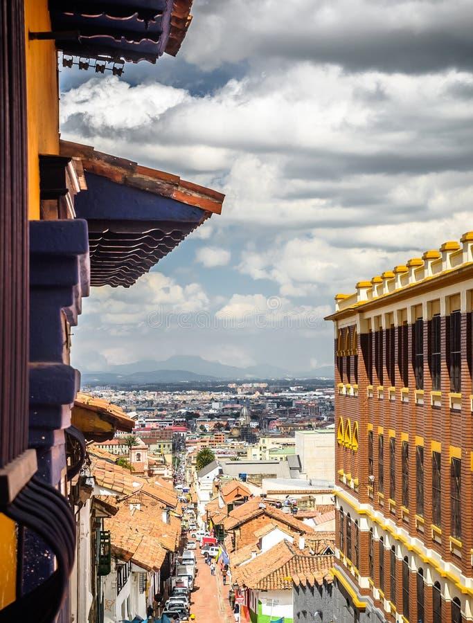 Колониальный старый городок Candelaria в Боготе стоковые фото