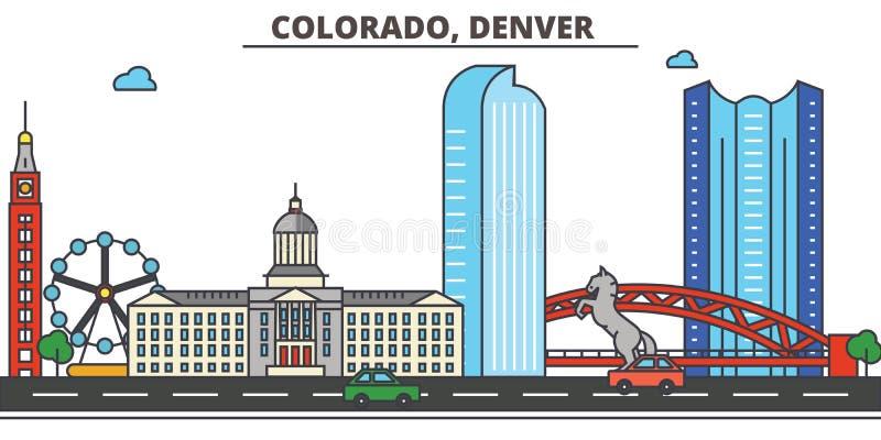 Колорадо, Денвер вектор горизонта конструкции города предпосылки ваш иллюстрация вектора