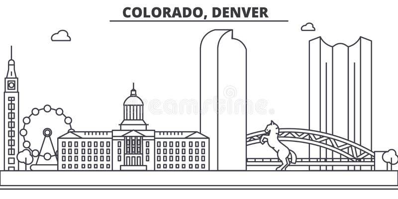 Колорадо, линия иллюстрация архитектуры Денвера горизонта Линейный городской пейзаж с известными ориентир ориентирами, визировани иллюстрация штока