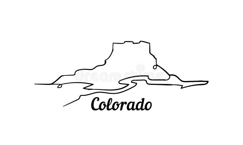 Колорадо одна линия иллюстрация вектора стиля изолированная на белой предпосылке бесплатная иллюстрация
