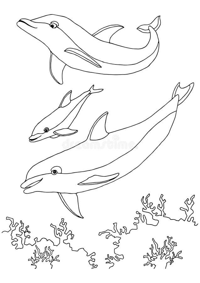 Морская жизнь книжка-раскраски Иллюстрация вектора ...