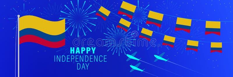 Колумбии -гопоздравительная открытка Дня независимости в июле 20 Предпосылка торжества с фейерверками, флагами, флагштоком и тек иллюстрация штока