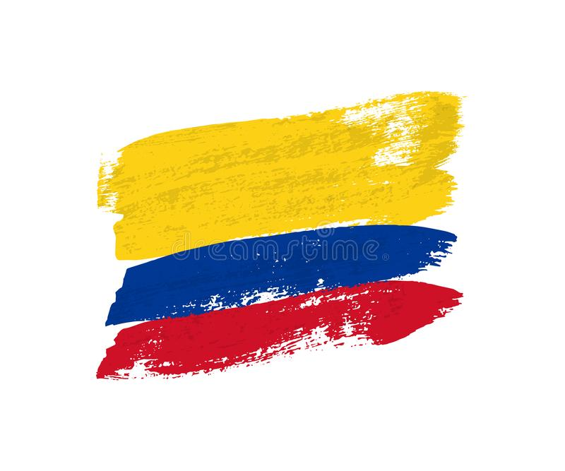 Колумбийский флаг сделанный ходов щетки Флаг grunge вектора Колумбии изолировал на белой предпосылке иллюстрация вектора