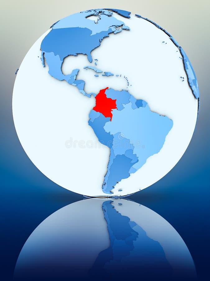 Колумбия на голубом глобусе иллюстрация вектора