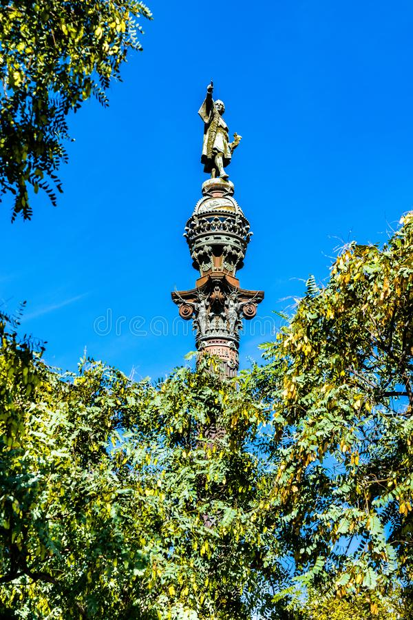 Колумбус Памятник Mirador de Colom, памятник Christopher Columbus в Барселоне, Испании стоковая фотография rf