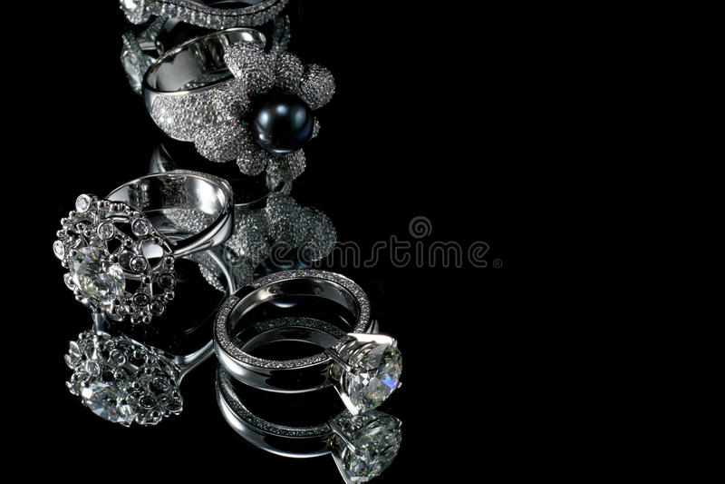 кольца диаманта collectionsof стоковые фото