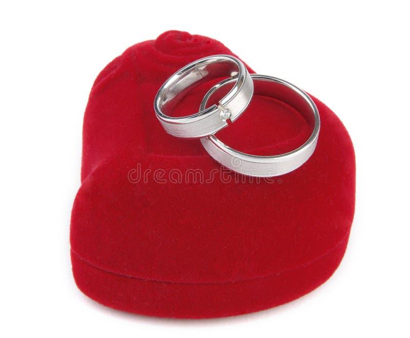 кольца коробки красные wedding стоковые фото
