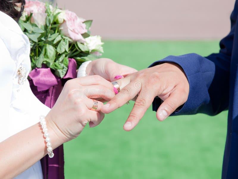 Кольца обменом жениха и невеста стоковые фотографии rf