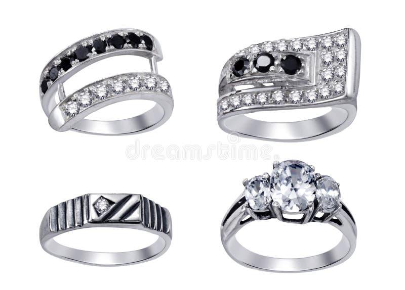 кольца предпосылки изолированные диамантами белые иллюстрация вектора