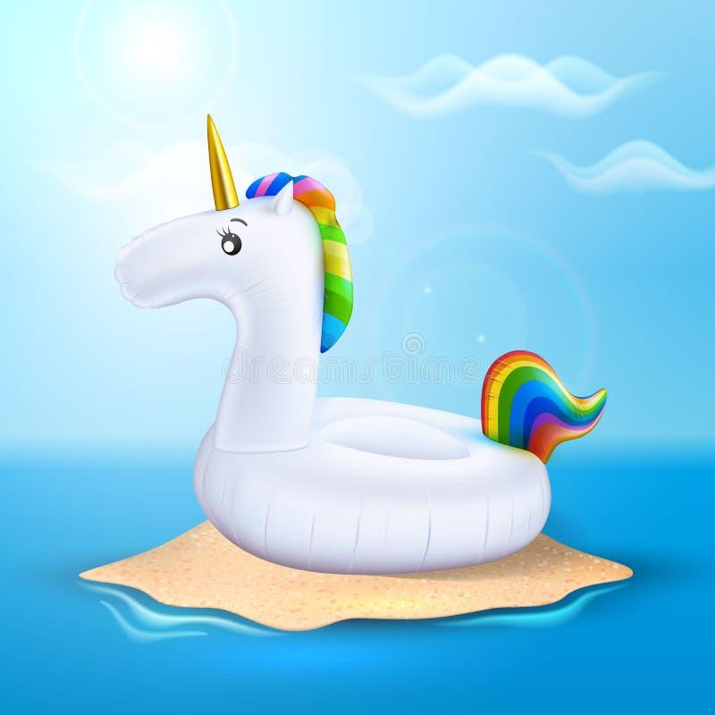 Кольцо бассейна единорога вектора раздувное на пляже бесплатная иллюстрация