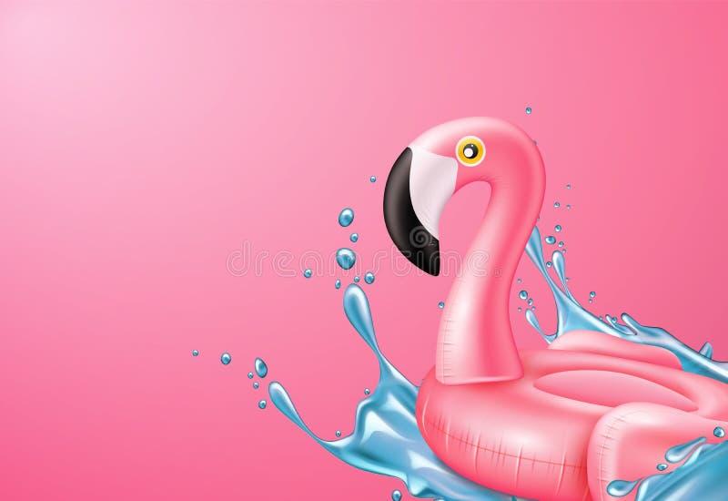 Кольцо бассейна фламинго пинка вектора 3d раздувное бесплатная иллюстрация
