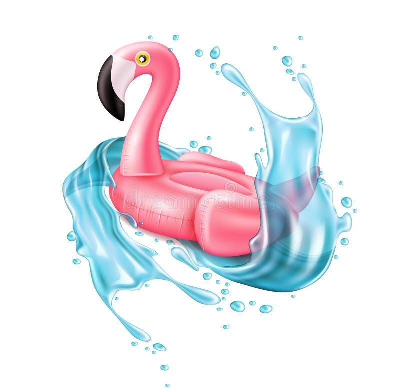 Кольцо бассейна фламинго пинка вектора 3d раздувное иллюстрация вектора