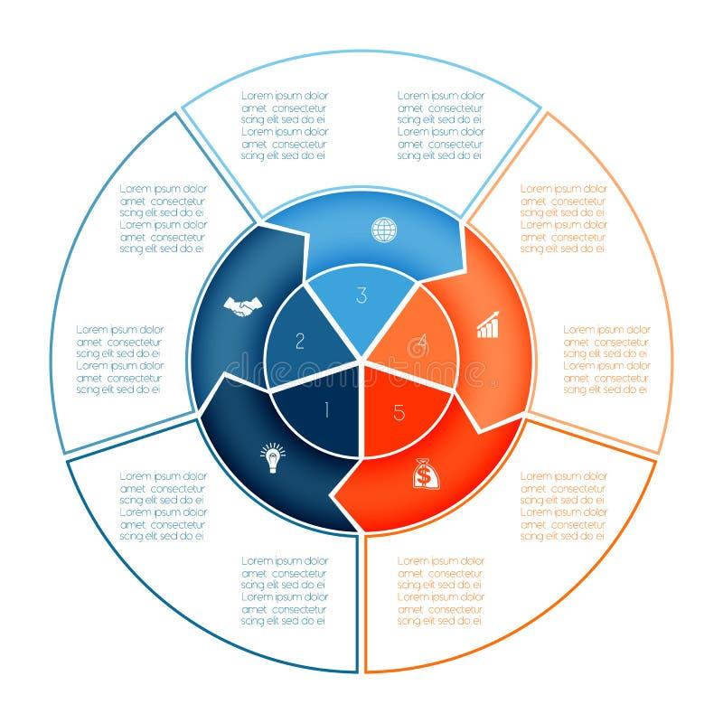 Кольцо стрелок Infographic Шаблон диаграммы на представление 5 op иллюстрация вектора