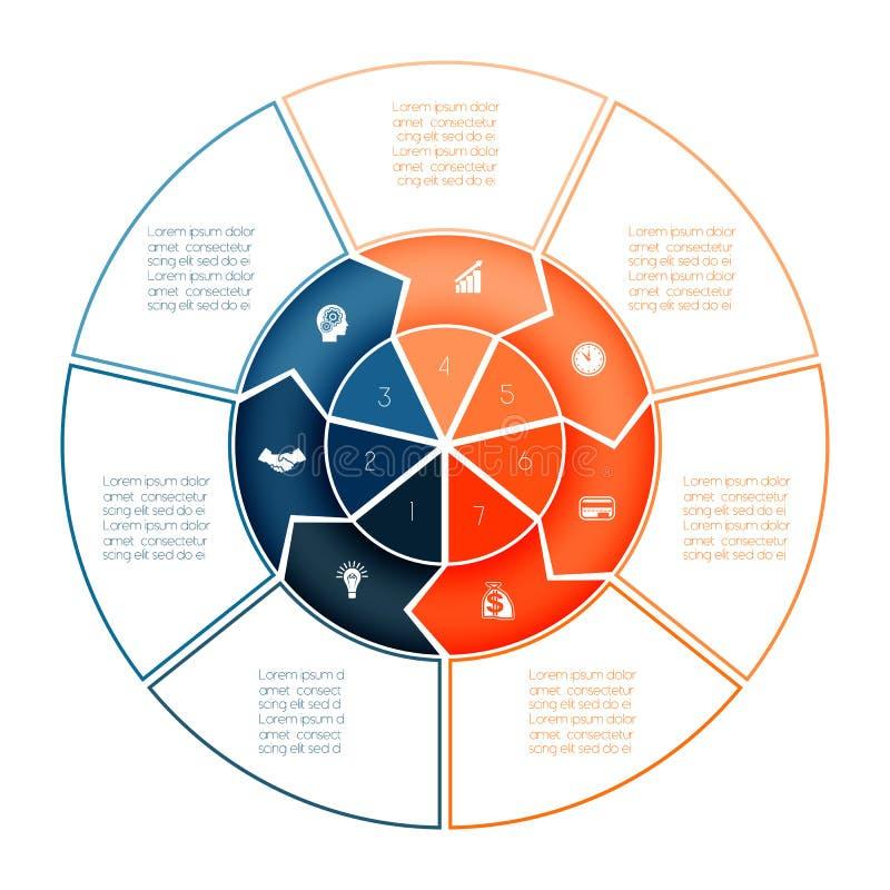Кольцо стрелок Infographic Шаблон диаграммы на представление 7 op иллюстрация штока