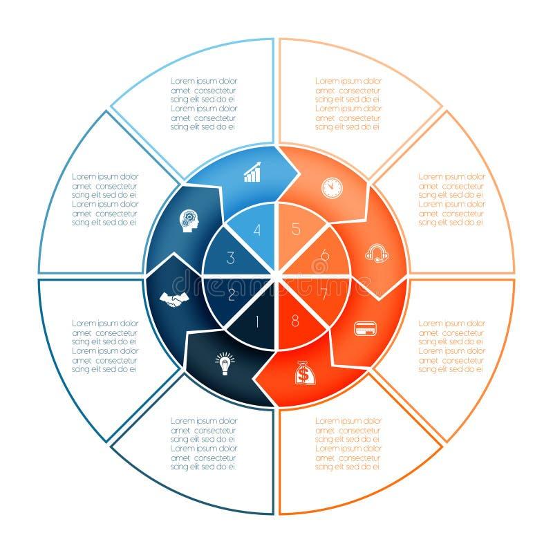 Кольцо стрелок Infographic Шаблон диаграммы на представление 8 op иллюстрация вектора
