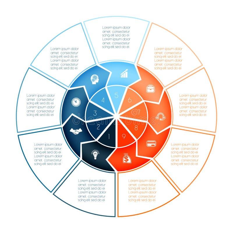 Кольцо стрелок Infographic Шаблон диаграммы на представление 9 op иллюстрация штока