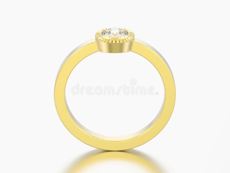 кольцо шатона диаманта пасьянса свадьбы золота иллюстрации 3D круглое иллюстрация вектора