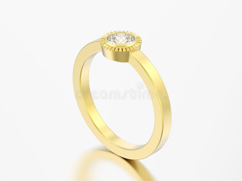 кольцо шатона диаманта пасьянса свадьбы золота иллюстрации 3D круглое бесплатная иллюстрация