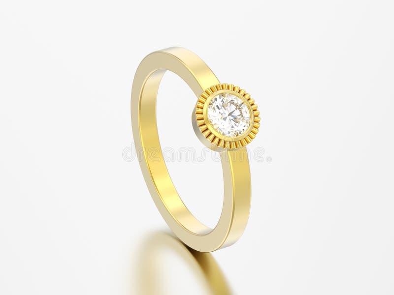 кольцо шатона диаманта пасьянса свадьбы золота иллюстрации 3D круглое иллюстрация штока