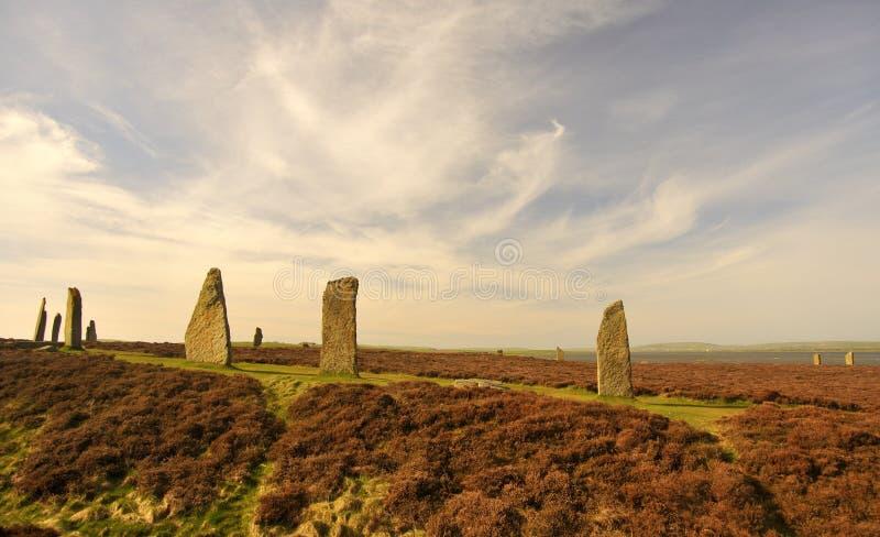 Кольцо Brodgar, круг, Stenness, острова Orkney стоковое фото rf