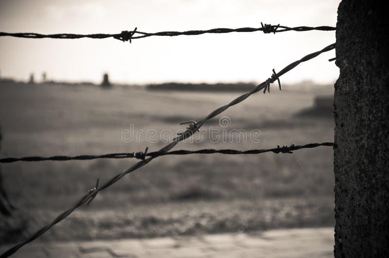 колючий провод загородки концентрации лагеря стоковое фото