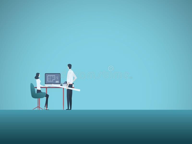 Команда архитектора с женщиной и человеком обсуждая мультфильм вектора проекта Профессиональные архитекторы и конструкция на рабо иллюстрация вектора