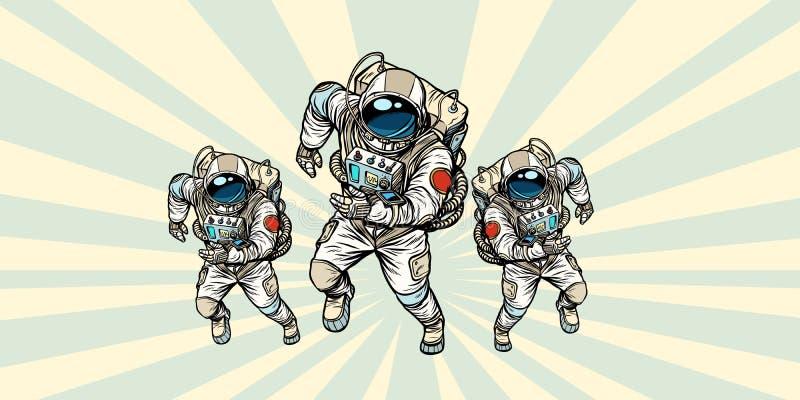 Команда астронавтов героикоромантическая иллюстрация вектора