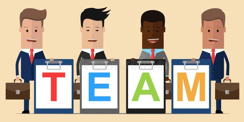 Команда бизнесменов держа планшет с командой слова Принципиальная схема сыгранности также вектор иллюстрации притяжки corel иллюстрация штока