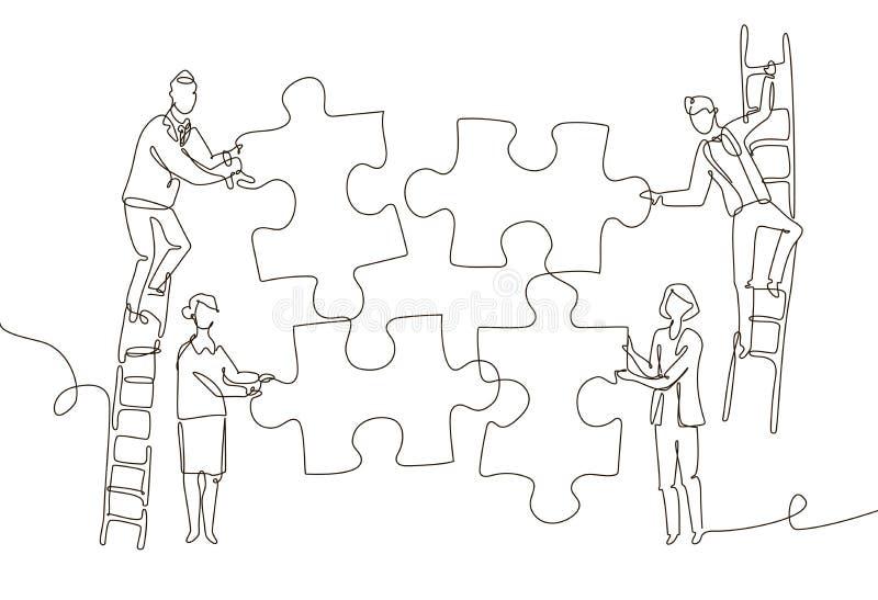 Команда дела делая головоломку - одну линию иллюстрацию стиля дизайна иллюстрация вектора
