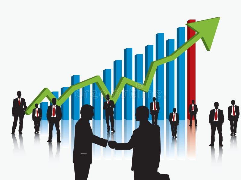 Команда дела и график финансов иллюстрация вектора