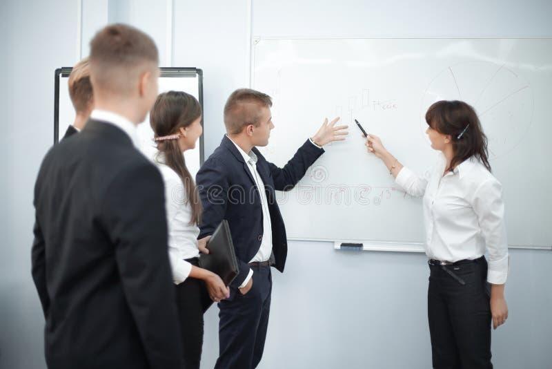 Команда дела и женщина административного вопроса показ на пустом экране стоковое фото