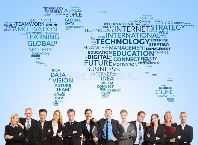 Команда дела и международная технология стоковое фото