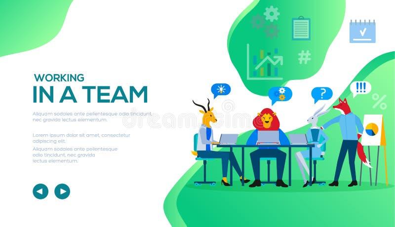 Команда дела сидя на столе, обсуждая проект иллюстрация штока