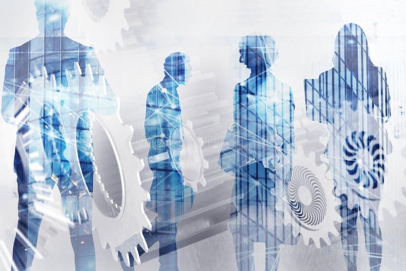 Команда дела с системой шестерней Сыгранность, партнерство и концепция интеграции с влиянием сети двойная экспозиция иллюстрация вектора