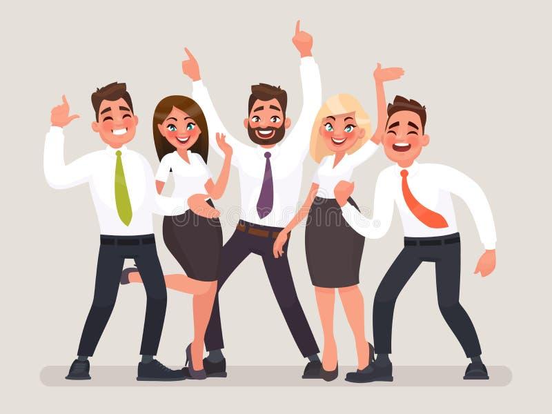 команда дела успешная Группа в составе счастливые работники офиса празднуя победу иллюстрация вектора